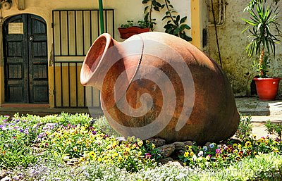 Garden decoration with amphora in Moura, Portugal