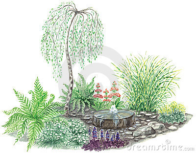 Garden design with little fountain