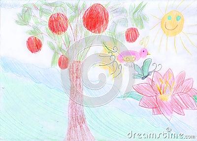 Garden of Eden. Scanned a children s drawing.