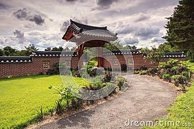 Garden Entrance Architectural Design Stormy Sky
