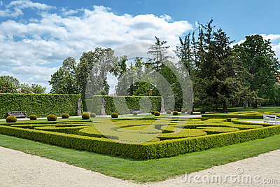 Garden in famous Baroque chateau Jaromerice nad Rokytnou