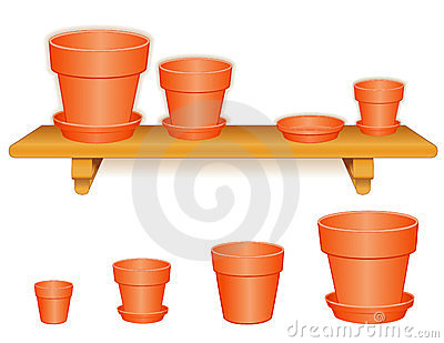 Garden Flowerpots on Wood Shelf