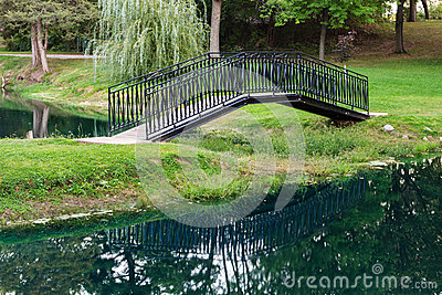Garden footbridge reflected in the water