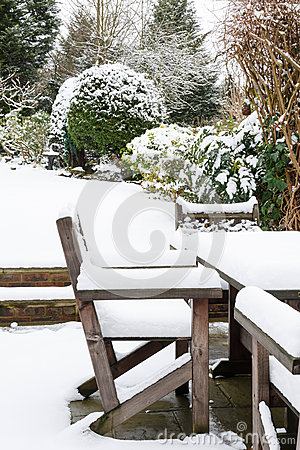 Garden furniture under snow