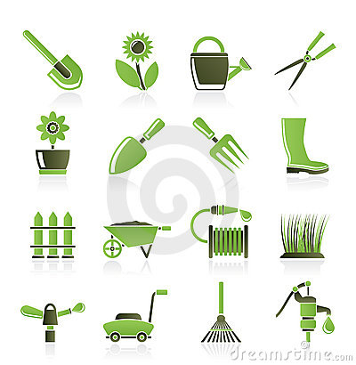 Garden and gardening tools and objects icons