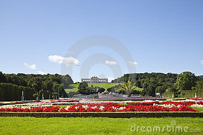 Garden and the gloriette in the schonbrunn palace