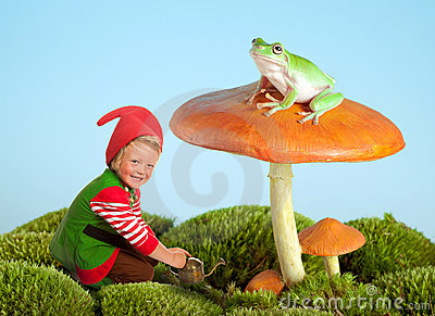 Garden gnome and frog