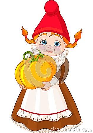 Garden Gnome with pumpkin