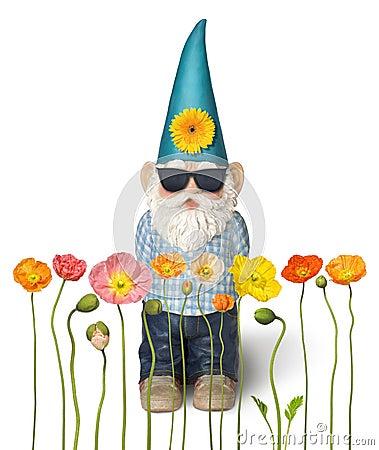 Free Garden Gnome Spring Flowers Summer Royalty Free Stock Photos - 23733028