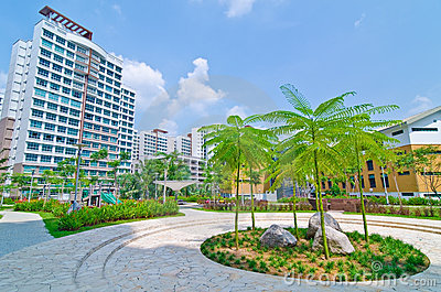 Garden within high-rise residential estate