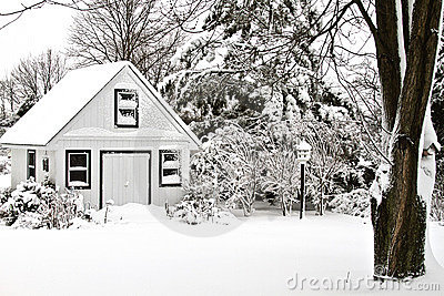 Garden House - Snow covered