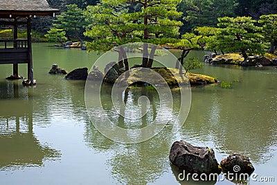 Garden in Kinkakuji Temple
