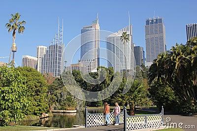 Botanic Garden landscape with Sydney skyline