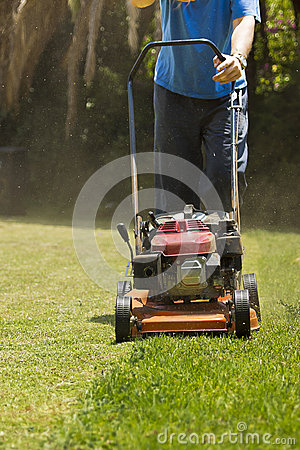 In the Garden - Mowing Lawn