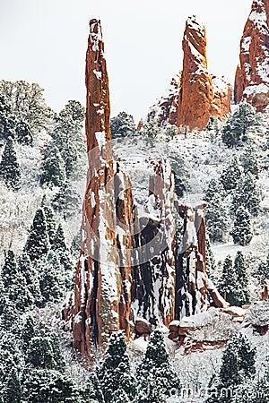 Free Garden Of The Gods - Colorado Springs Winter Snow Royalty Free Stock Photo - 95090155