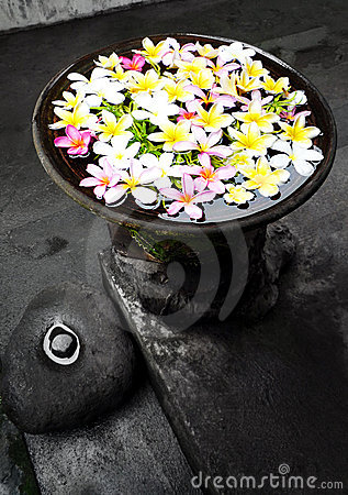 Garden ornament with flowers, Bali