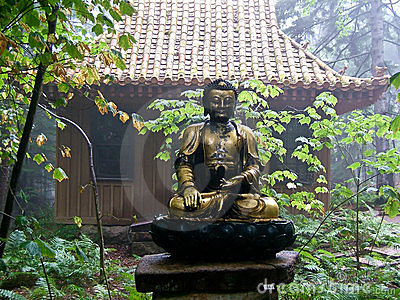 Garden Path with Asian Theme and Budda