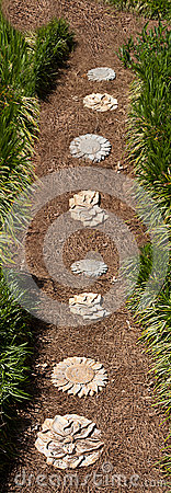 Garden Path of Pine Straw and Stepping Stones
