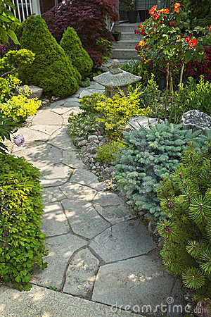 Free Garden Path With Stone Landscaping Royalty Free Stock Photo - 23718785