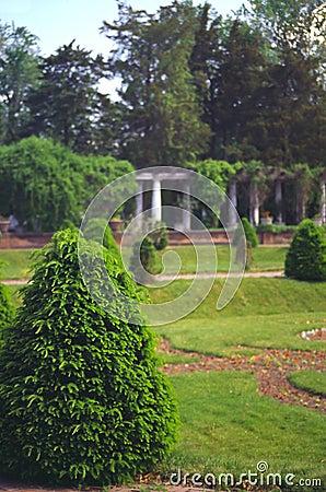 Garden with pillars