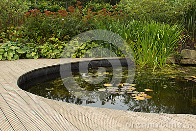 Garden pond with decking stock photo image 41979625 for Koi pool water gardens blackpool