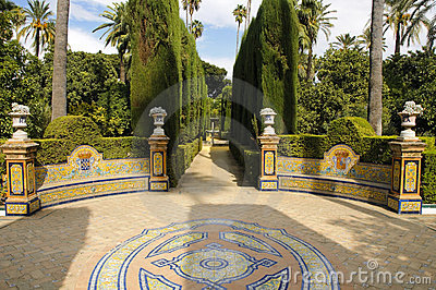 Garden of the Royal Alcazar in Seville, Spain