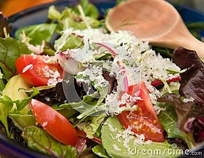 Garden Salad in blue bowl