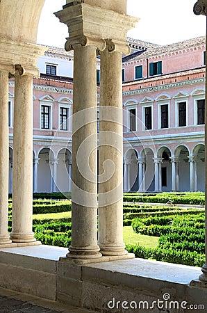 Garden of San Giorgio Monastery in Venice, Italy
