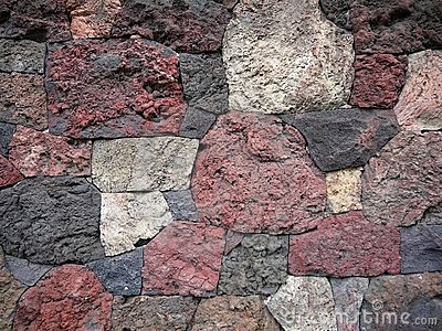 Garden: scoria lava rock wall