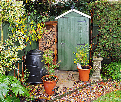 Garden Shed with log store