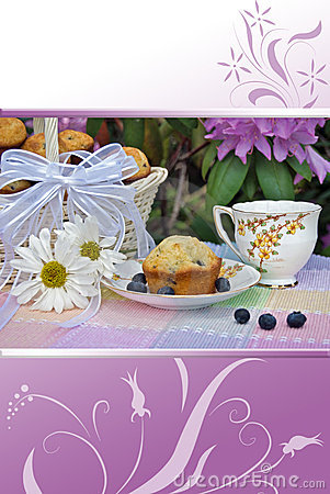 Free Garden Tea Party With Blueberry Muffins Stock Image - 13444331