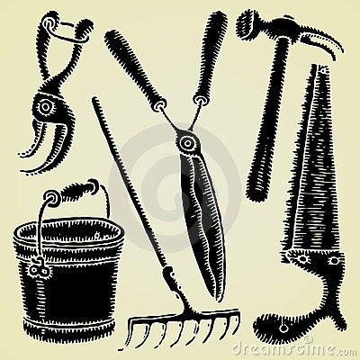 Garden tools original woodcut