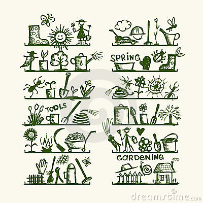 Garden Tools On Shelves Sketch For Your Design Stock
