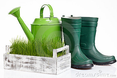 Garden tools and watering can