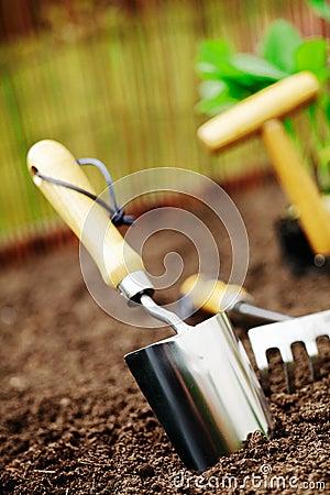 Garden trowel in soil
