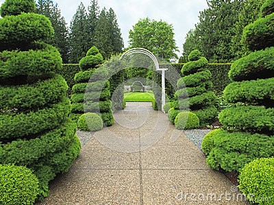 Garden walkway with arc
