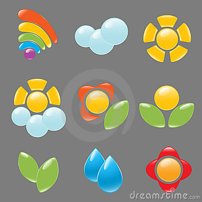 Garden and weather icon set