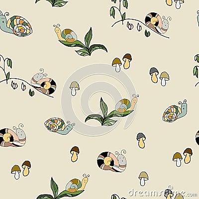 Garden wildlife snail animal vector seamless pattern. Pest spir Vector Illustration