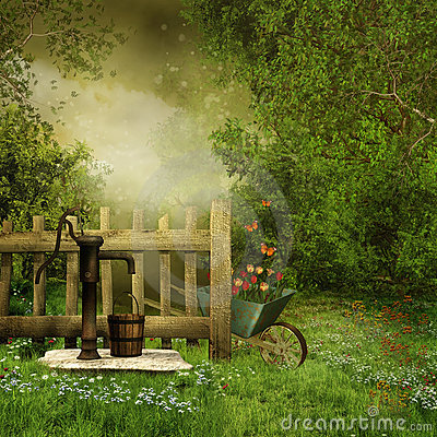 Free Garden With An Old Water Pump Royalty Free Stock Photos - 20170528