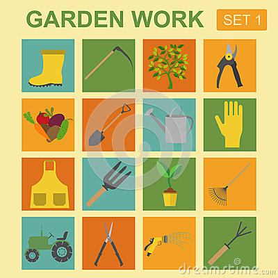 Garden Work Icon Set Working Tools Stock Vector Image