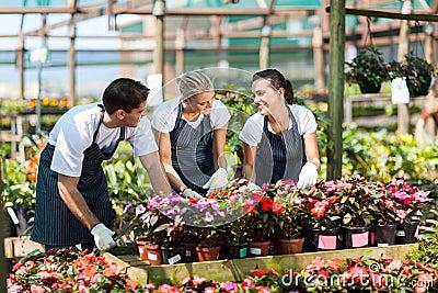 Garden workers working