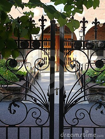 Garden: wrought iron courtyard gates