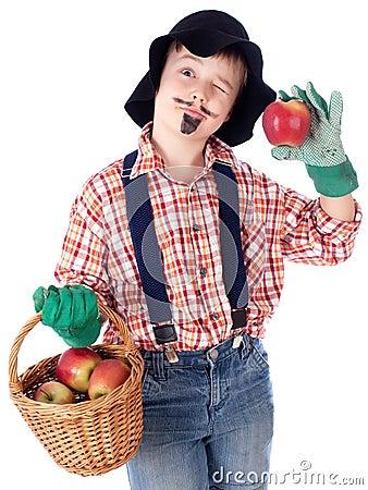 Gardener with apples