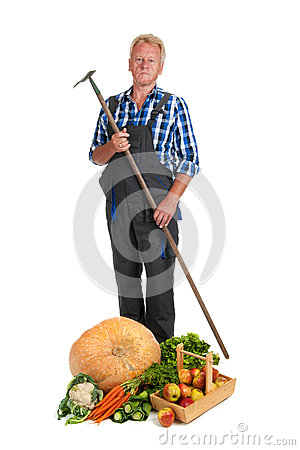 Gardener with harvest