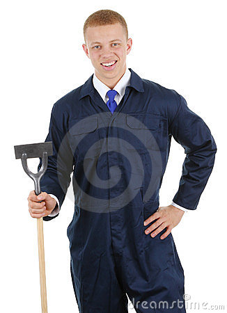 Gardener with a hoe