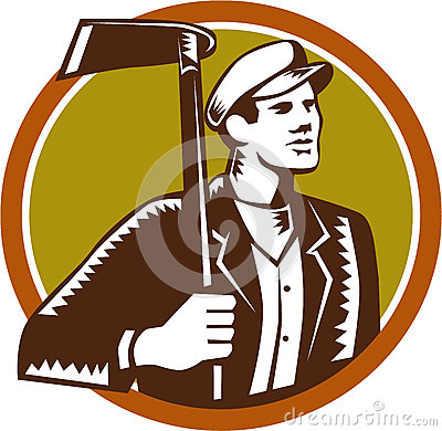 Free Gardener Landscaper Grub Hoe Woodcut Royalty Free Stock Photography - 57751067