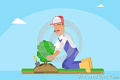 Gardener planting sapling flat vector illustration Vector Illustration