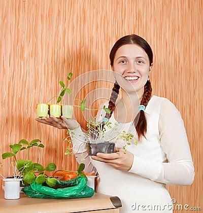 Gardener with various seedlings