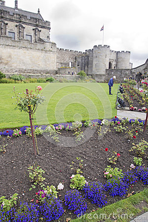 Gardener at work in the park of a  Scotland Castle