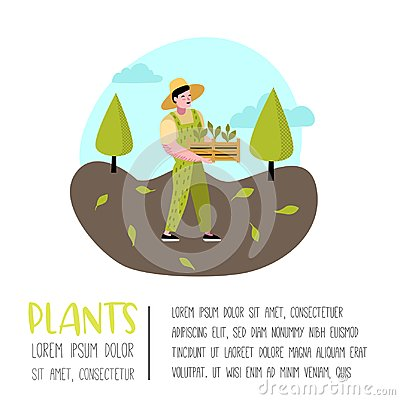 Free Gardening Cartoons Poster. Funny Simple Characters With Plants And Trees. Man Gardener Stock Image - 122364661